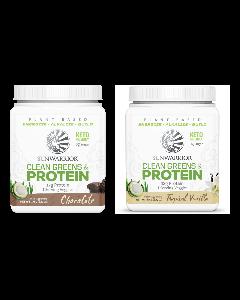 Sunwarrior - Clean Greens & Protein Tropical - Vanilla + Chocolade  - 2 x 175 Gram