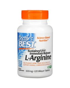Doctor's Best - Sustained Plus Immediate Release L-Arginine - 120 Bilayer Tablets (500 mg)
