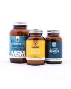 Plantforce - Energieke Huid Pakket - MSM - Vitamine C Complet en Chlorella