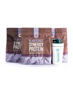 Plantforce - Synergy Proteine Chocolate - 3 bags + Free Plantforce Shaker