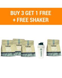 Plantforce Synergy Proteine Vanille - 3 +1 Gratis & Gratis Plantforce Shaker
