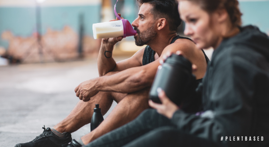 Athletes drinking meal replacement shakes