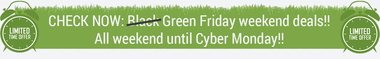 Green friday weekend till cyber monday at Plentbased